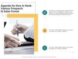 Agenda For How To Rank Various Prospects In Sales Funnel System Tendency Ppt Image