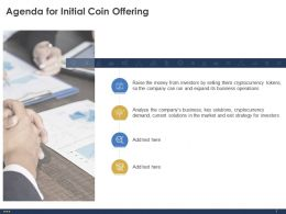 Agenda For Initial Coin Offering Tokens Ppt Powerpoint Presentation Slides Mockup