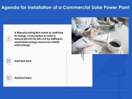 Agenda For Installation Of A Commercial Solar Power Plant Ppt Powerpoint Professional Tips