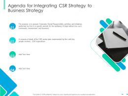 Agenda For Integrating CSR strategy To Business Strategy Integrating CSR Ppt Information