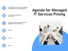 Agenda For Managed It Services Pricing Server Down Time Ppt Presentation Infographics