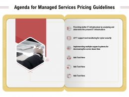 Agenda For Managed Services Pricing Guidelines Infrastructure Ppt Presentation Files