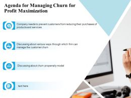 Agenda For Managing Churn For Profit Maximization Ppt Powerpoint Grid Clipart
