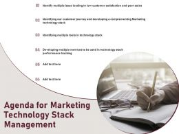 Agenda For Marketing Technology Stack Management Ppt Powerpoint Presentation File