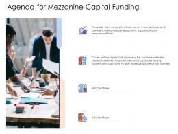 Agenda For Mezzanine Capital Funding Mezzanine Capital Funding Pitch Deck Ppt Styles Graphics