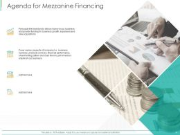 Agenda For Mezzanine Financing Ppt Powerpoint Presentation Ideas Brochure