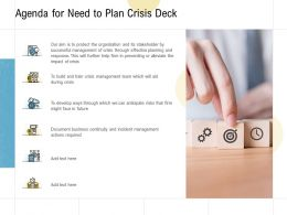 Agenda For Need To Plan Crisis Deck Ppt Powerpoint Presentation Pictures Inspiration