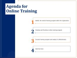 Agenda For Online Training Organization Ppt Powerpoint File Format
