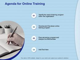 Agenda For Online Training Program M782 Ppt Powerpoint Presentation Model Layouts
