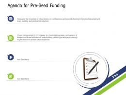Agenda For Pre Seed Funding Pre Seed Capital Ppt Structure