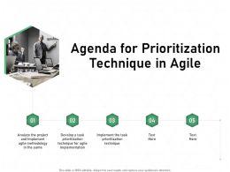 Agenda For Prioritization Technique In Agile Implementation Ppt Presentation Sample