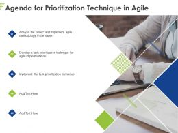 Agenda For Prioritization Technique In Agile Ppt Powerpoint Presentation File Structure