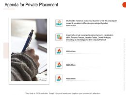 Agenda For Private Placement Ppt Powerpoint Presentation Ideas Grid
