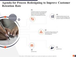 Agenda For Process Redesigning To Improve Customer Retention Rate Ppt Portfolio Background