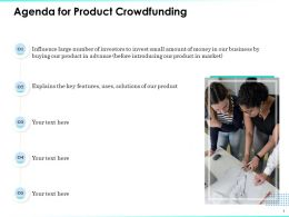 Agenda For Product Crowdfunding Influence Large Ppt Powerpoint Presentation Files