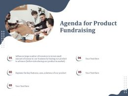 Agenda For Product Fundraising Introducing Ppt Powerpoint Design Ideas