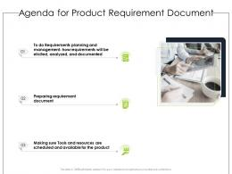 Agenda For Product Requirement Document Ppt Powerpoint Presentation Professional Layouts