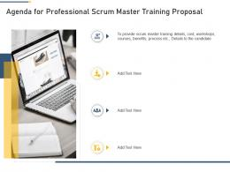 Agenda For Professional Scrum Master Training Proposal Professional Scrum Master Training Proposal It Ppt Tips