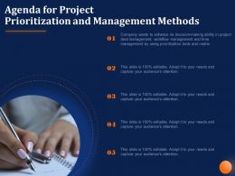 Agenda For Project Prioritization And Management Methods Enhance Ppt Powerpoint Presentation Grid