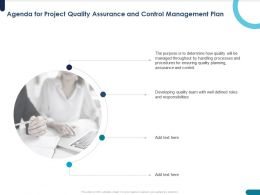 Agenda For Project Quality Assurance And Control Management Plan Handling Ppt Powerpoint Presentation Outline