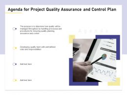 Agenda For Project Quality Assurance And Control Plan M1466 Ppt Powerpoint Presentation Diagram Ppt