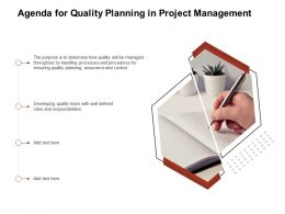 Agenda For Quality Planning In Project Management Ppt Gallery Inspiration