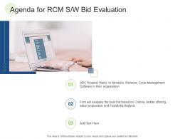 Agenda For RCM S W Bid Evaluation RCM S W Bid Evaluation Ppt Skills