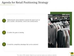 Agenda For Retail Positioning Strategy Ppt Powerpoint Presentation Show Display