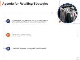 Agenda For Retailing Strategies Ppt Powerpoint Presentation Gallery Portfolio