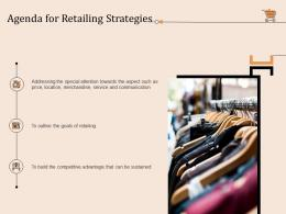 Agenda For Retailing Strategies Retail Store Positioning And Marketing Strategies Ppt Clipart