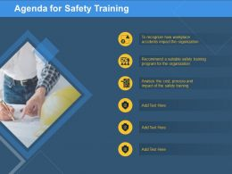Agenda For Safety Training Cost Program Ppt Powerpoint Presentation Show