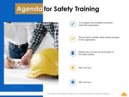 Agenda For Safety Training Organization Ppt Powerpoint Presentation Inspiration Brochure
