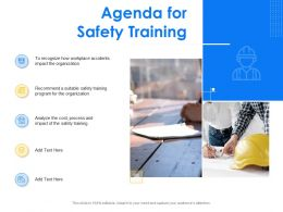 Agenda For Safety Training Process Ppt Powerpoint Presentation Show Smartart