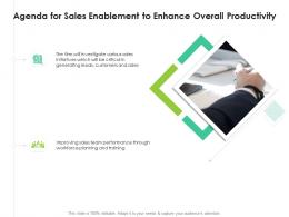 Agenda For Sales Enablement To Enhance Overall Productivity Ppt Grid