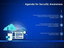 Agenda For Security Awareness Enterprise Cyber Security Ppt Portrait