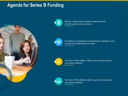 Agenda For Series B Funding Investment Pitch Raise Funding Series B Venture Round Ppt Ideas