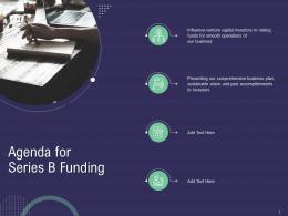 Agenda For Series B Funding Ppt Powerpoint Presentation Infographics Samples