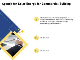 Agenda For Solar Energy For Commercial Building Resources Ppt Powerpoint Presentation Styles Icon