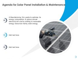 Agenda For Solar Panel Installation And Maintenance Electricity Ppt Powerpoint Presentation Files