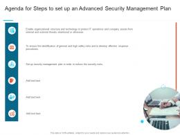Agenda For Steps To Set Up An Advanced Security Management Plan Ppt Summary