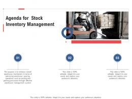 Agenda For Stock Inventory Management Ppt Template