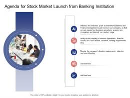 Agenda For Stock Market Launch From Banking Institution Stock Market Launch Banking Institution Ppt Deck