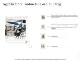 Agenda For Subordinated Loan Funding Ppt Power Point Presentation Professional Show