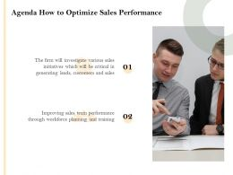 Agenda How To Optimize Sales Performance Improving Ppt Powerpoint Presentation Graphics Design