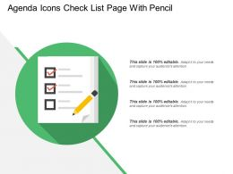 Agenda Icons Check List Page With Pencil