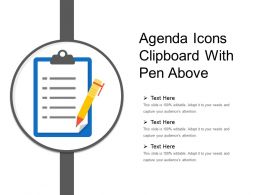 Agenda Icons Clipboard With Pen Above