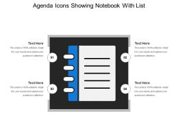 Agenda Icons Showing Notebook With List