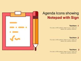 Agenda Icons Showing Notepad With Sign