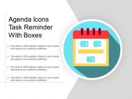 Agenda Icons Task Reminder With Boxes