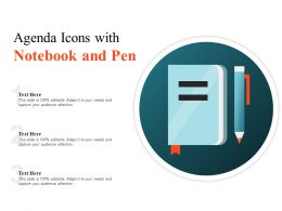 Agenda Icons With Notebook And Pen